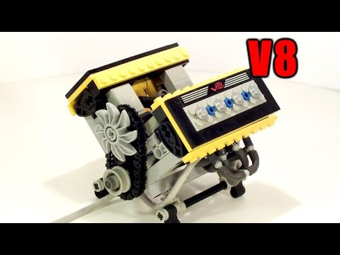 Super-small V8 Lego pneumatic engine (small cylinder)