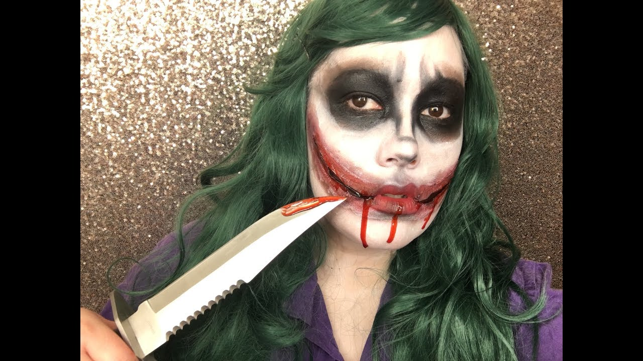 Joker Girl Halloween Makeup Tutorial 2017