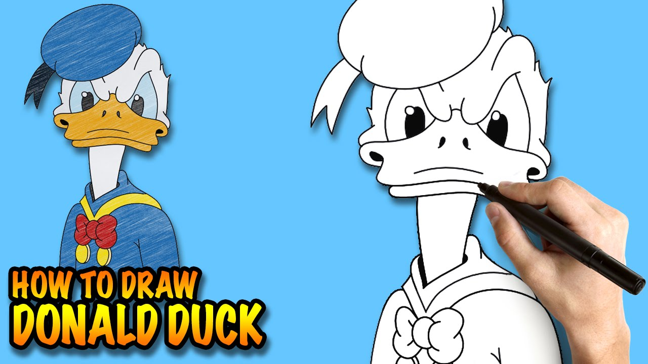 How To Draw Donald Duck  Easy Stepbystep Drawing Lessons For Kids   Youtube