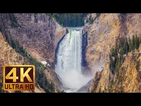 WATERFALLS OF YELLOWSTONE - 4K Ultra HD Waterfall Relaxation Video + Water Sounds and Romantic Music