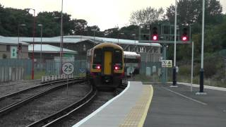 159+158 DMUs leave Weymouth.5th August 2012