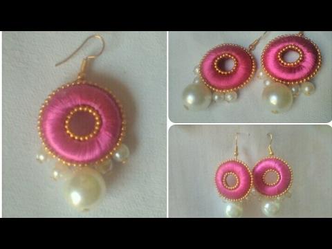 af35e6f84 Pink Silk Thread Pearls Earrings // DIY // Simple And Easy Tutorial ...