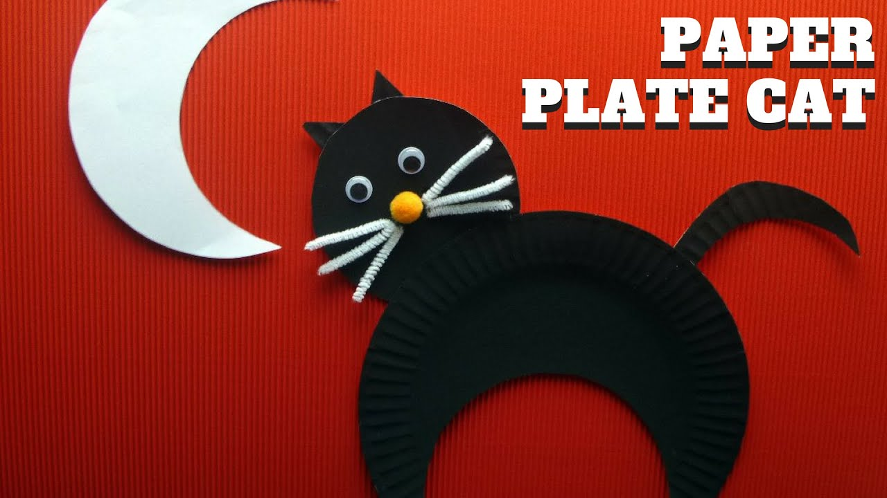 & Halloween Craft - How to Make a Paper Plate Cat - YouTube