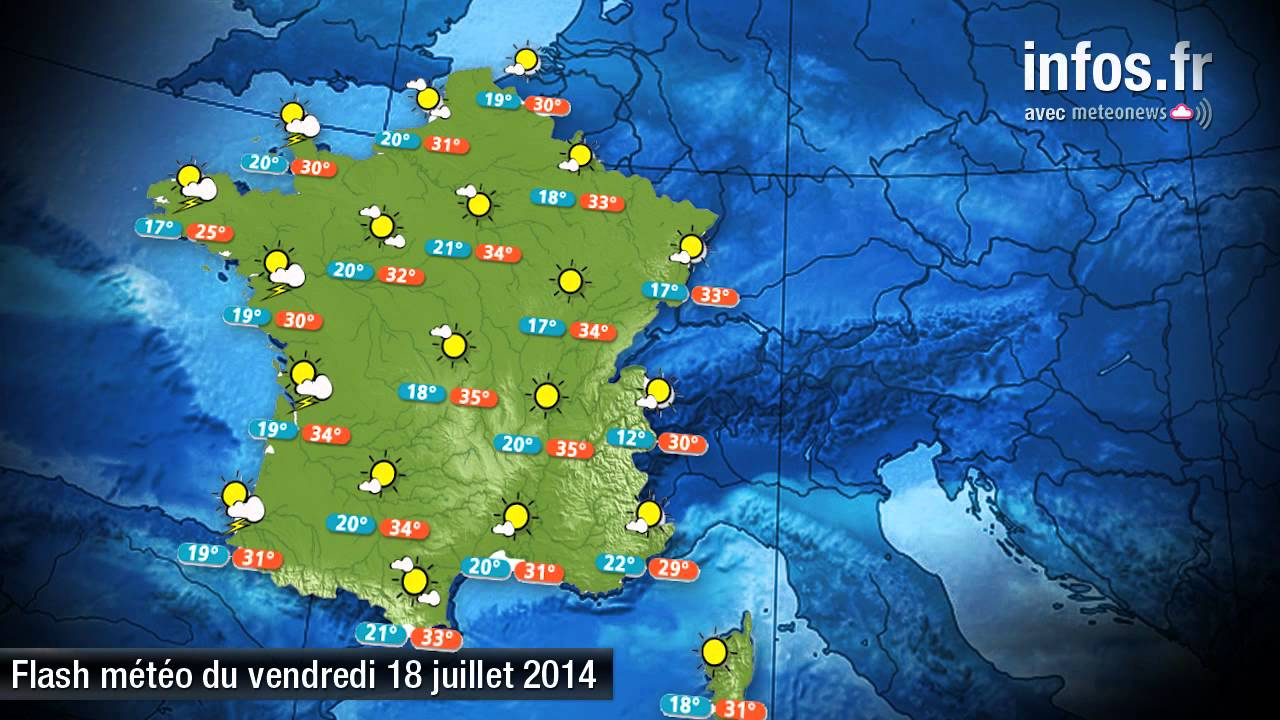 Les pr visions m t o france du 18 juillet 2014 youtube - Meteo a la carte france 3 ...