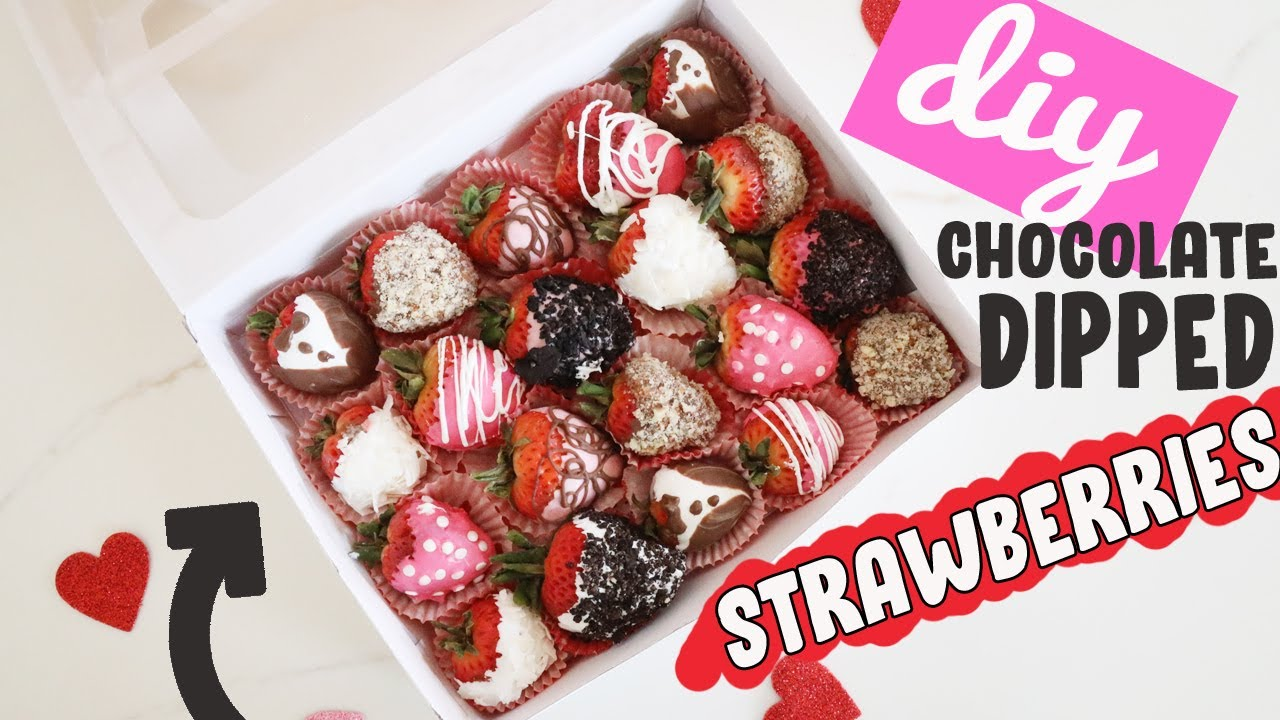 Diy Chocolate Dipped Strawberries Easy Valentines Day Gift Ideas For Her Or Him Youtube