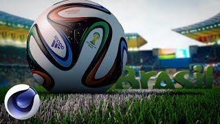 Футбольная композиция в Cinema 4D (3D модель мяча в подарок!).