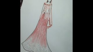 How to draw Indian Pakistani wedding dress.