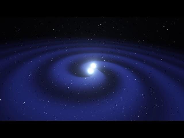 Neutron star merger animation ending with kilonova explosion
