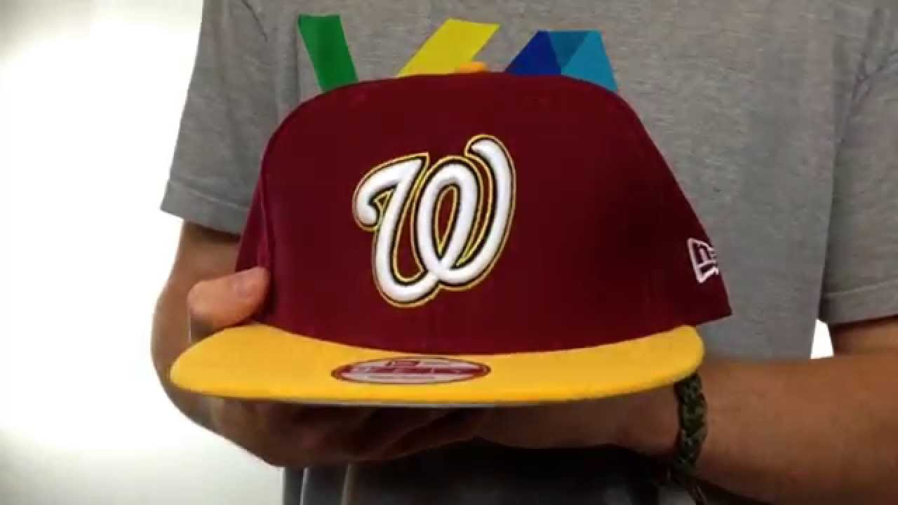 1972df595d3 Nationals  2T OPPOSITE-TEAM SNAPBACK  Burgundy-Gold Hat by New Era ...