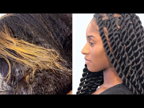 TUCKING METHOD ON LARGE ROPE TWISTS (HOW TO HIDE COLORED HAIR)