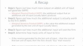 Marginal Revenue Product equals Marginal Factor Cost