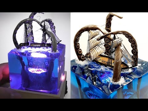 KRAKEN vs SHIP DIORAMA NIGHT LAMP-EPOXY RESIN and WOOD -DIY