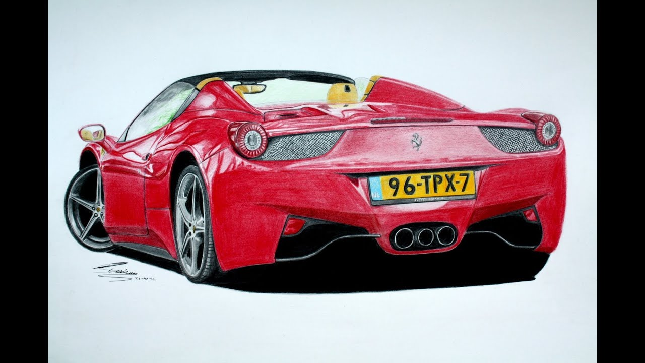 ferrari 458 spider pencil drawing youtube. Cars Review. Best American Auto & Cars Review