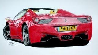Ferrari 458 Spider Pencil Drawing