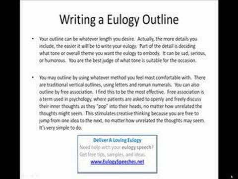 Eulogy Outline For A Eulogy Speech  Youtube