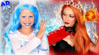 Ice Queen and Fire Queen Dress Up! Will Ice Queen's Blinger Gem Powers Save Magical Ice Cream?
