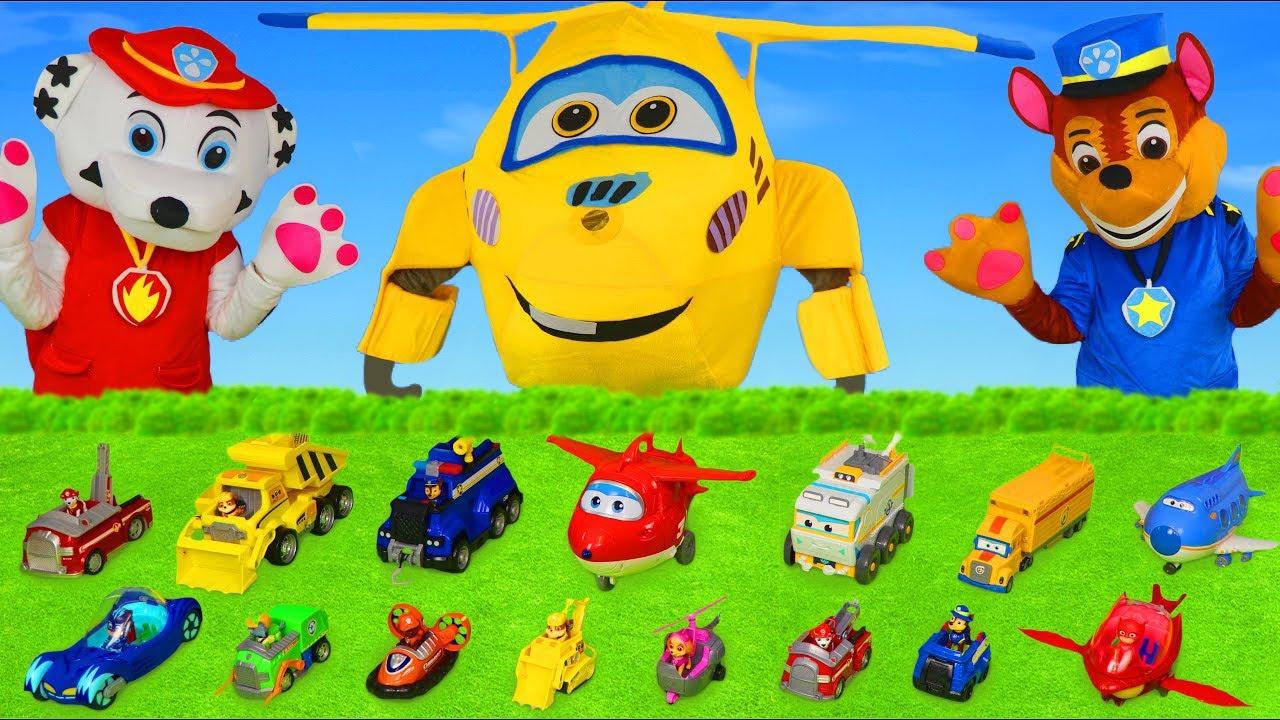 ألعاب باو باترول - سيارة المطافي, الأبطال تشيس, فتح لعبة الطيارة المتحو Super Wings Paw Patrol toys