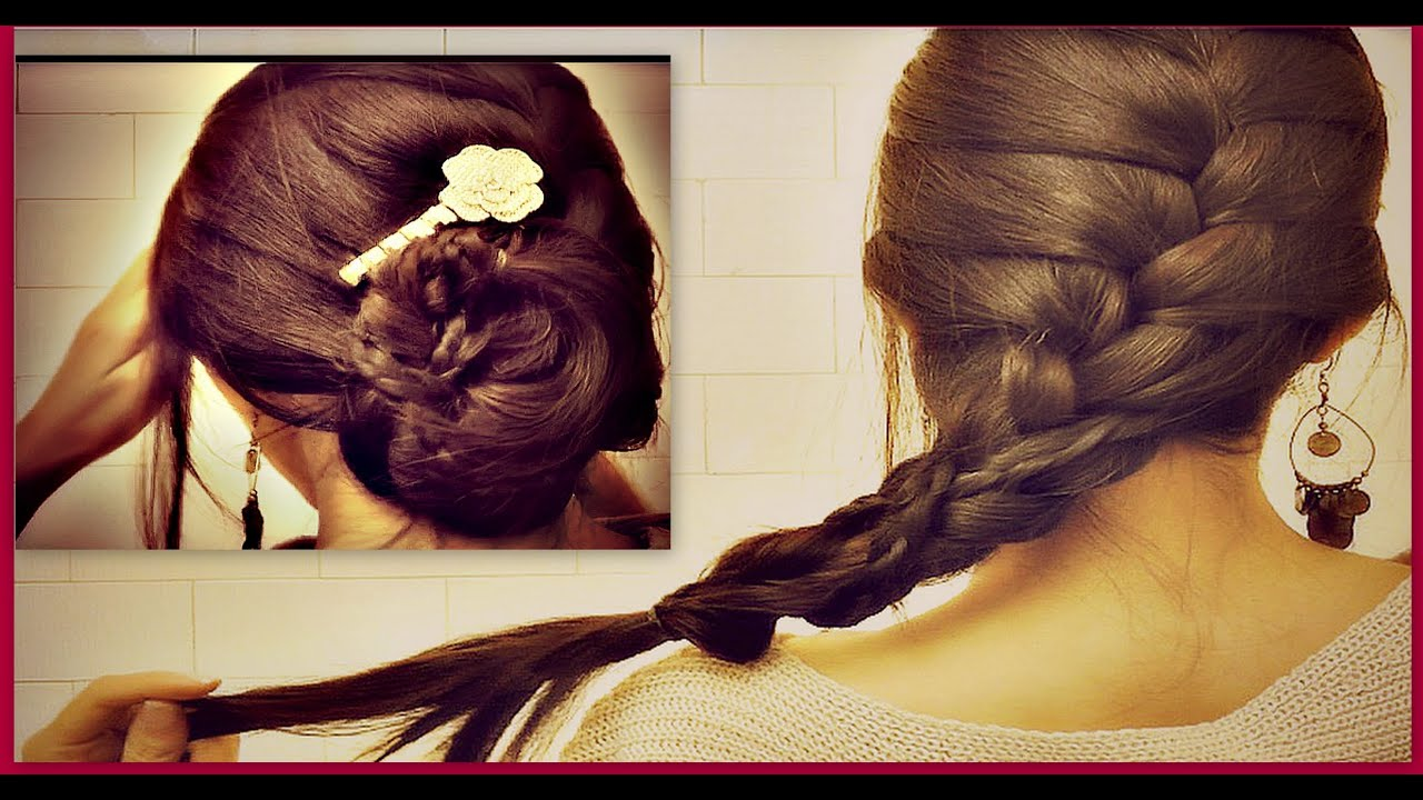 ˜� How To: French Braid Your Own Hair Tutorial Romantic Updo Bun Hairstyles  For Medium Long Hair  Youtube