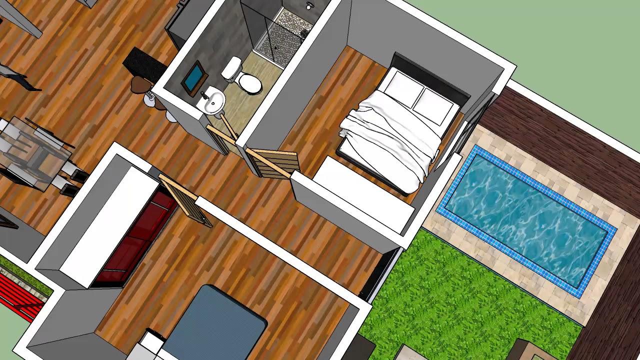 Plano de casa de un piso 8m x 20m sketchup youtube for Casa 3d gratis