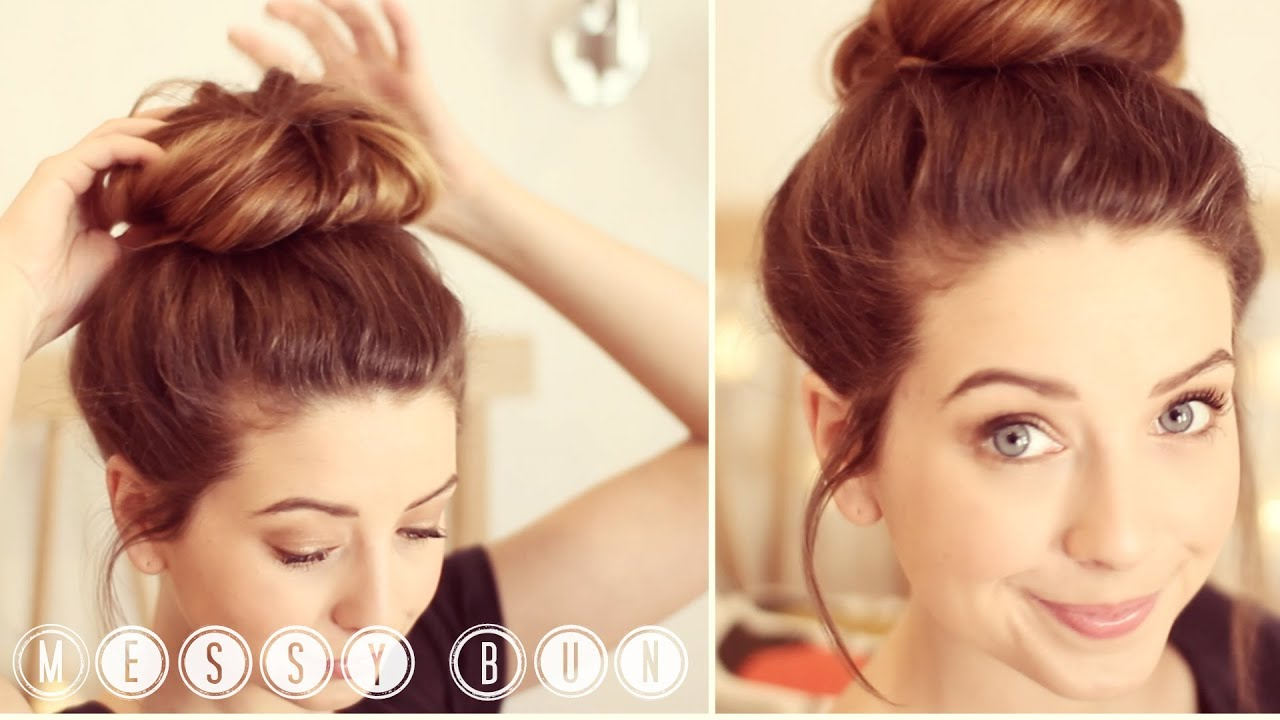 How To: Messy Bun | Zoella - YouTube