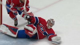 Carey Price tumbles over on his back for incredible overtime save