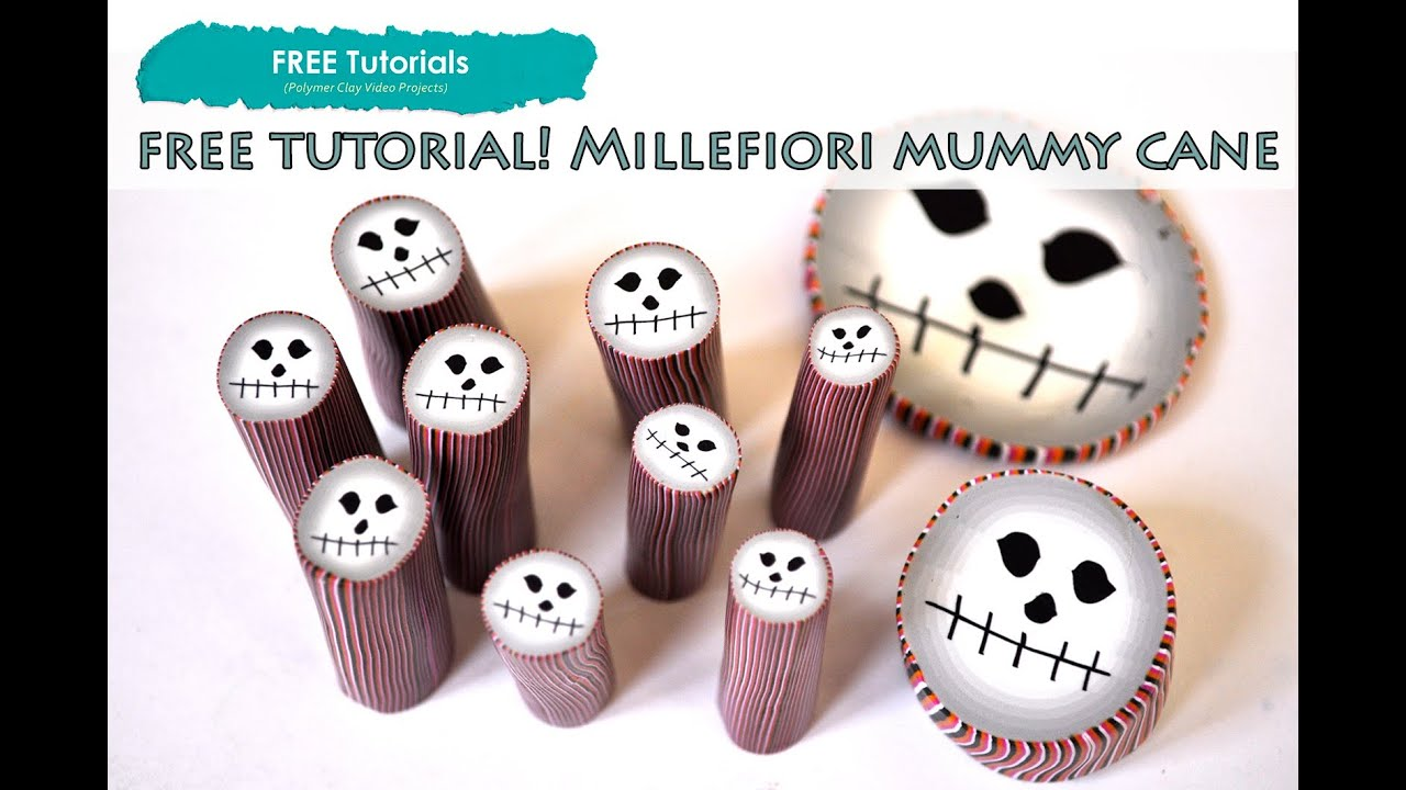 polypediaonline tv how to create polymer clay halloween mummy face millefiori cane