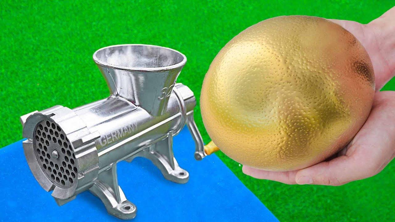 EXPERIMENT GIANT GOLDEN EGG VS MEAT GRINDER