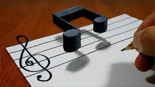 3D Trick Art on Paper   Musical Note   Optical Illusion