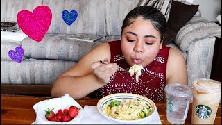 Cheesy Chicken Alfredo, Starbucks, and Strawberries | Valentine's Day Mukbang
