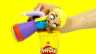 Frozen Elsa Dress up stop motion play doh superhero funny video for kids