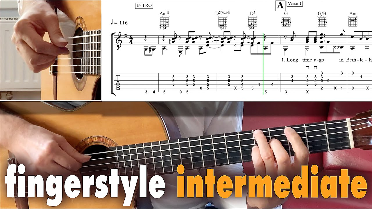 Download MARY'S BOY CHILD guitar lesson fingerstyle tab tutorial