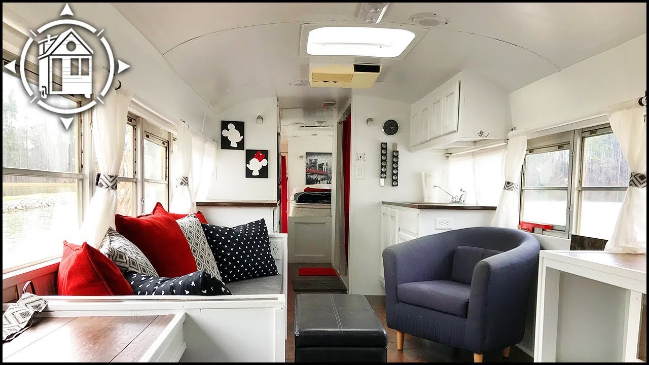 Bus Converted into Tiny House So Couple Will Never Be Homeless