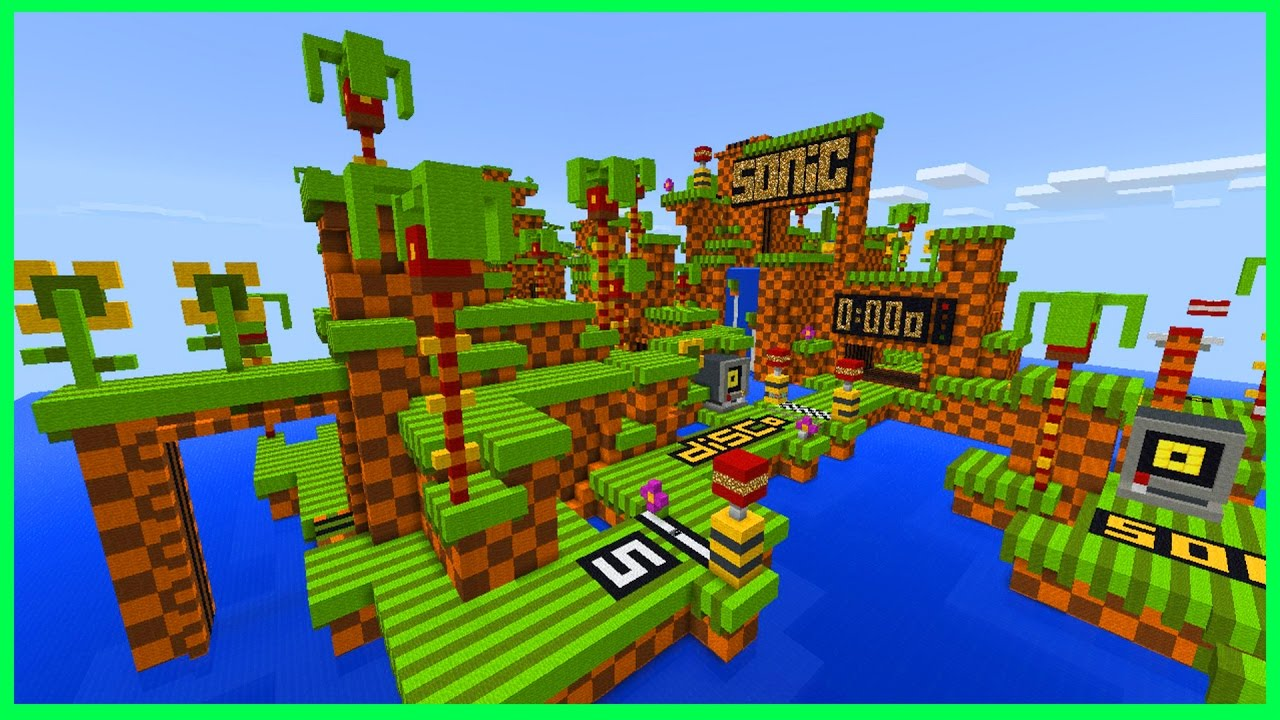 Minecraft PE Maps - SUPER FAST PARKOUR! Sonic the Hedgehog Parkour ...