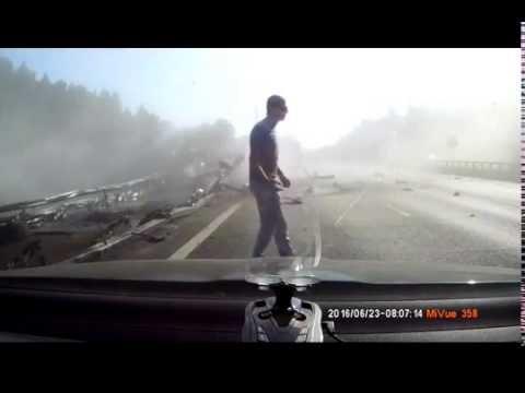 Car crash | Car accident (Dashcam) June 2016 #165 ДТП Перевернулся тягач с полуприцепом (Russia)