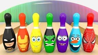 УЧИМ ЦВЕТА - Игра в Боулинг - Кегли Супергерои | Мультфильм для детей | Изучаем цвета по супергероям