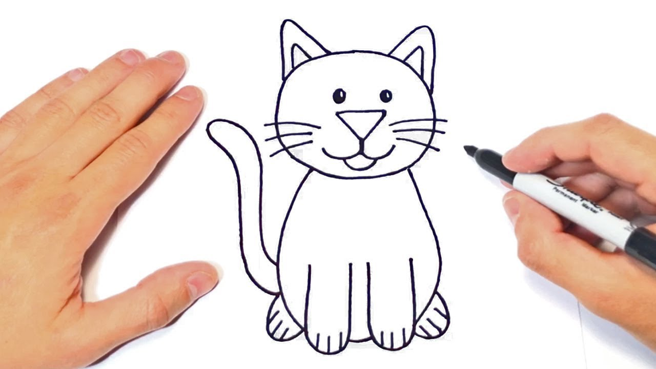How to draw a Cat for kids | Cat Easy Draw Tutorial - YouTube