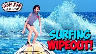 Yumi almost drowns surfing | Ron Jon Surf Shop Shopping Challenge