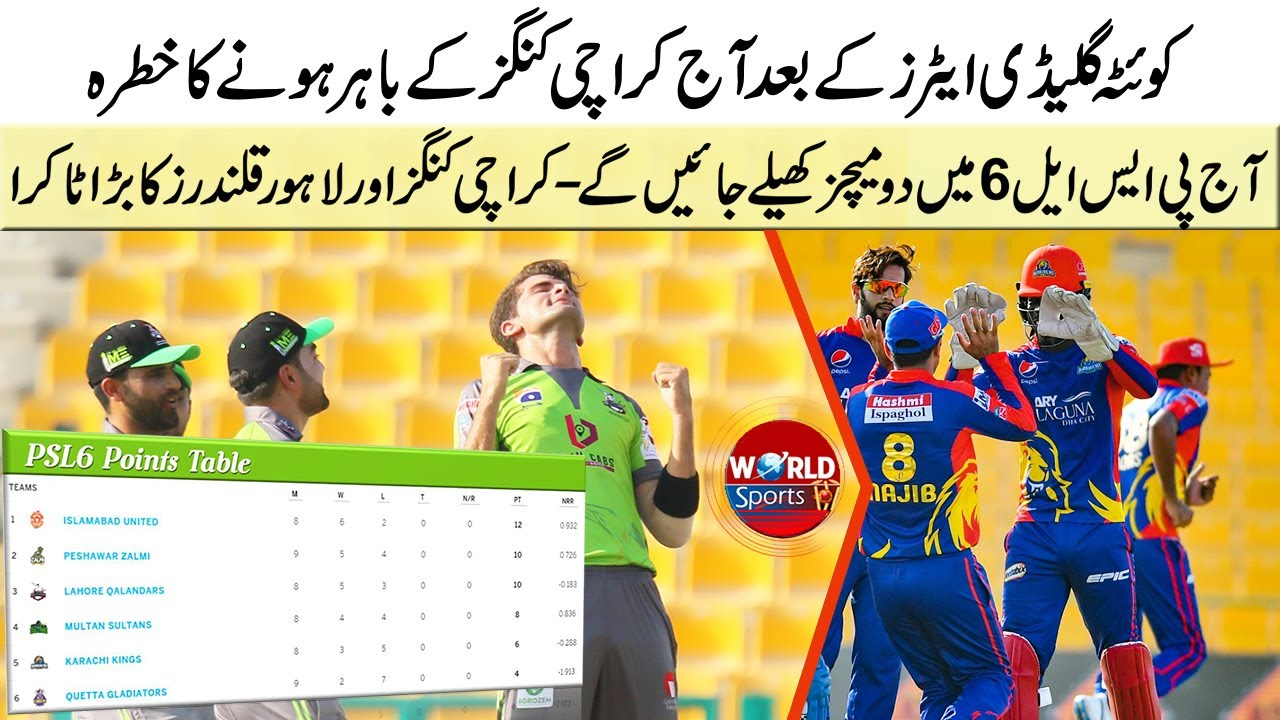 PSL 6 today match | Karachi Kings could be out of PSL 6 | PSL 6 points table