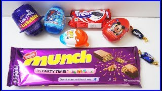 Kinder Joy Surprise Egg Cadbury dairy Milk Lickables Big Munch Box And Other Chocolates Learn Colors thumbnail
