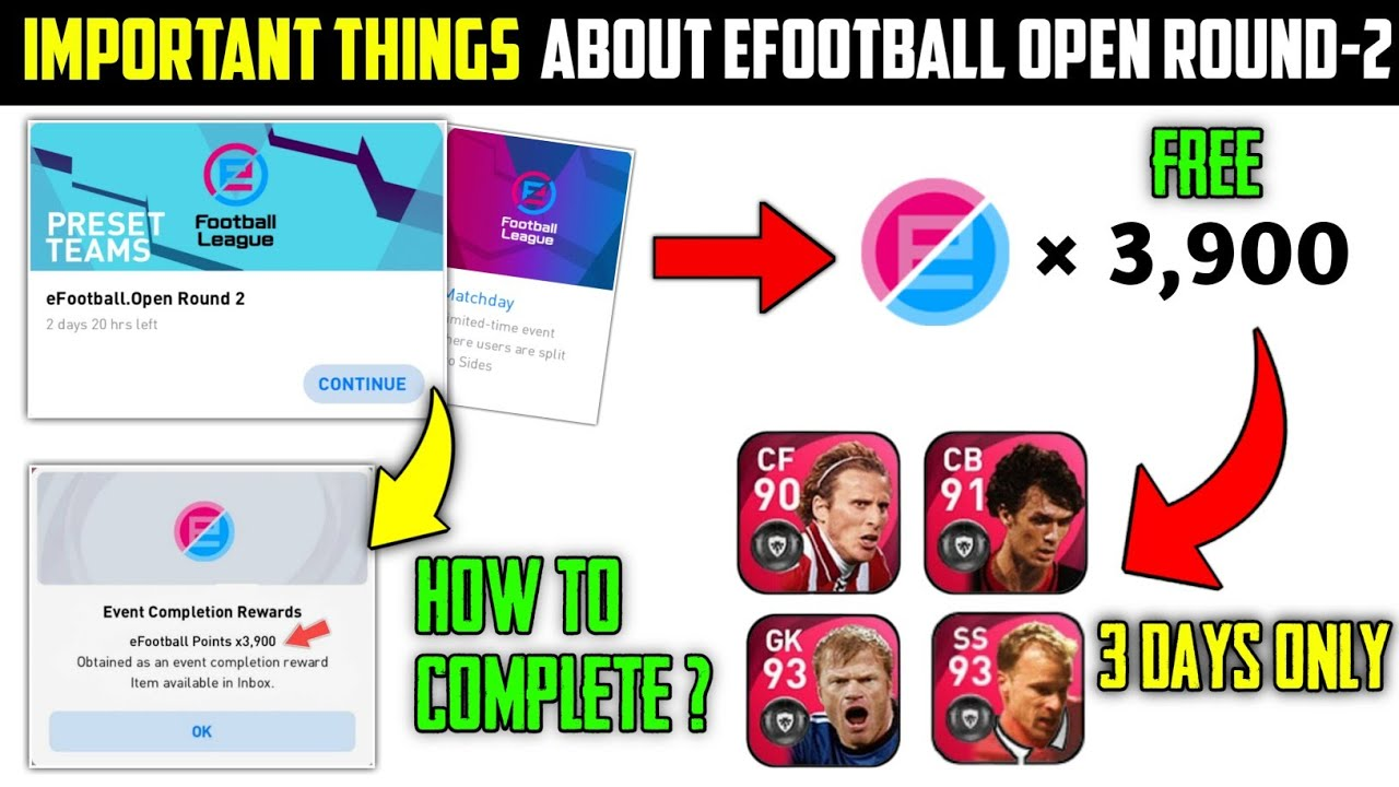 GET 3900 EFOOTBALL POINTS   EFOOTBALL OPEN ROUND 2 ALL DETAILS  PES 2021 MOBILE