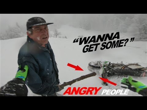 Hillbilly Attack Dirt Bikers On Snow! Angry Man Wanted Fight!