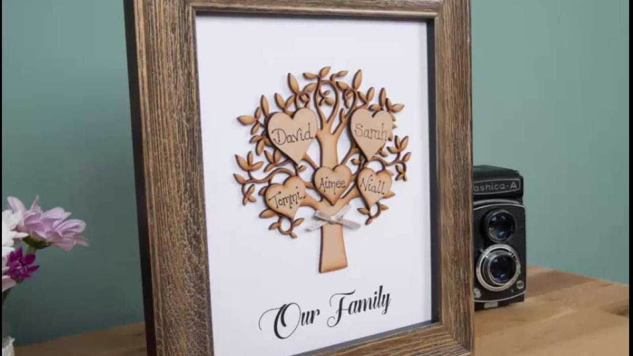 Personalised family tree frames - YouTube