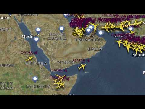 Qatar Airways is using Somalia's airspace to avoid Saudi Ara