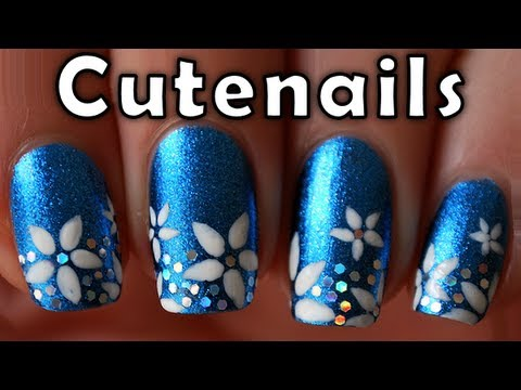 short nails tutorial cute flowers