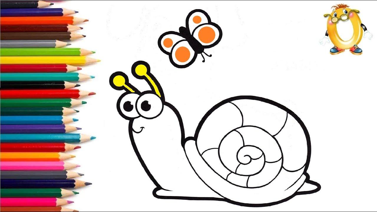 Раскраска для детей УЛИТКА И БАБОЧКА. Мультик - Раскраска. Учим цвета
