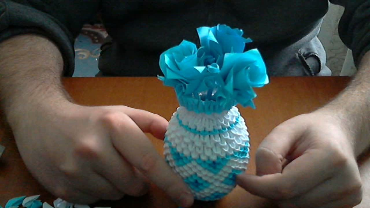 How To Make 3d Origami Vase 2 Model Youtube Mightylinksfo