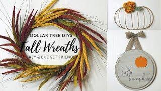 3 Easy Dollar Tree Fall Wreath DIYS Ultimate Fall Wreath Playlist