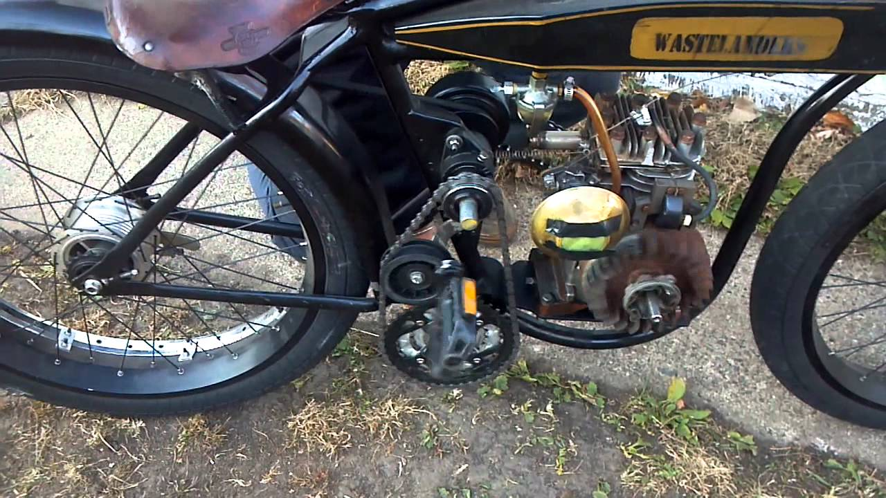 Briggs Motorized Board Track Racer Bicycle How It Starts
