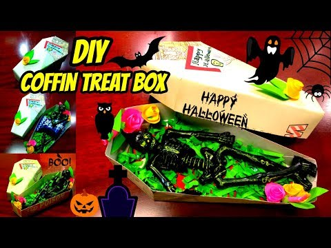 DIY Coffin Treat Box || How to make Halloween Treat Box || Tutorial
