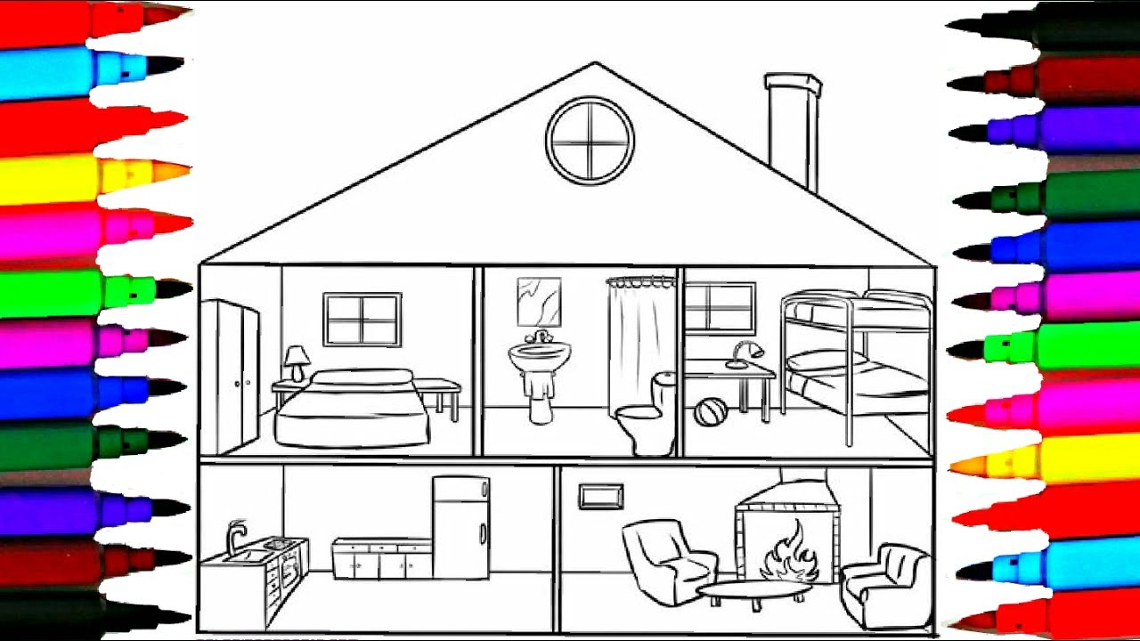 Coloring And Drawing Girls Bedroom L Bathroom L House Coloring